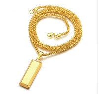 Wholesale Men Chain Punk Necklaces Gold Cube Bar SUPREME Necklace Pendant Hip Hop Jewelry Dance Charm Franco Christmas Halloween