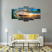 More Panel Oil Painting Modern 5 Panels Modern Canvas Painting Rolling Wave Picture Prints Seascape Painting Wall Art For Home Decoration with Wooden Framed