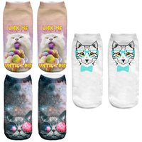 Women Cotton,Polyester Low Cut Ankle Socks Wholesale- Harajuku Digital Printing 3D Socks Women Casual Space Cat Socks Unisex Animal Cut Ankle Socks