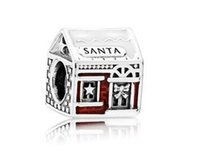 big glass house - Metal Slider S925 Silver Santa House Christmas Big Hole European Spacer Bead Fit Pandora DIY beads Chamilia Biagi Charm Bracelet