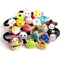 """3-4 Years Unisex Video Games Top New 22 Styles 1"""" 2.5CM Cartoon Mickey Minnie Stitch Cute Elsa Anna Olaf Daisy Donald Hair Ring Lovely Kid's Gifts Hair Ropes"""