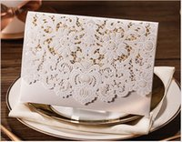 Wholesale sample laser cut lace Wedding Invitation card white red gold wedding invitations Free Printing with envelopes blank inner page