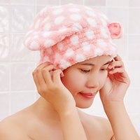 Wholesale ASLT New Cute Shower Caps Textile Microfiber Hair Turban Quickly Dry Hair Hat Wrapped Towel Bath
