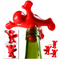 Wholesale Newest Bar Tools Funny Happy Man Guy Wine Stopper Novelty Wine Cork Bottle Plug Perky Interesting home Tools Plug Perky Creative bottle open