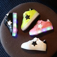 Wholesale LED Shoes For Children Kids Lighting Sport Running Shoe Casual Star Sneaker Luminous Athletic Flat Shoes PPA514