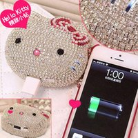 apple power source - Pearl Diamond Hello Kitty mAh Mobile Portable Power Source Bank USB Universal Battery Charger For iphone IOS Android Phones