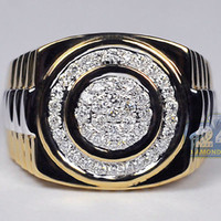 Wholesale Mens Diamond Pave Signet Pinky Step Ring K Yellow Gold ct Certified