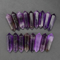 Wholesale 15 pcsset x8x6mm amethyst double points crystal healing reiki DIY WORK