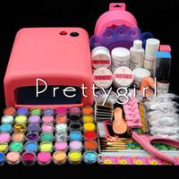 Wholesale COSCELIA w Pink UV lamp Nail UV Gel Set Acrylic Powder Kit Nail Glitter Primer Top Coat White False Nail Bowl Tools Kits