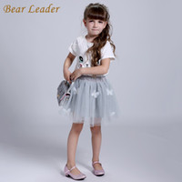 Wholesale Bear Leader Girls Clothing Sets New Summer Fashion Style Cartoon Kitten Printed T Shirts Net Veil Dress Girls Clothes Sets