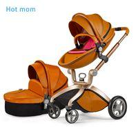 baby trolley brands - HotMom Brand Fashion PU Leather Baby Stroller Pushchair Egg Shaped Pram Baby Child Shock Wheels Children Trolley Baby Carriage