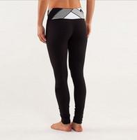 al por mayor polainas de yoga para las mujeres-Pierna con Logo Lulu Yoga Gimnasio Pantalones Elásticos Mujer Deportivo Fitness Leggings Medias Medias Pantalones Cropped Tamaño 2 4 6 8 10 12