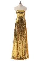 al por mayor vestidos largos formales de plata de oro-Vestido de moda de lujo de plata de oro Long Sequin Prom Dresses 2016 Vestidos de noche barata Sexy Strapless Prom Party formal vestido