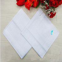 Wholesale Male White Handkerchiefs Cotton Satin Table Handkerchief Super Soft Whitest Pocket Towboats Squares cm for Banquet Party Use
