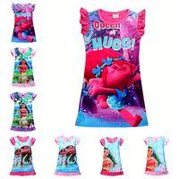 Wholesale 2017 Summer Baby Girl Dress Ice Silk Cartoon Trolls and Moana Kids Pajamas Ruffle Hem Extra Comfy Girls Clothes Children Clothing