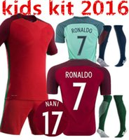 Wholesale 2016 Euro Portugal kids Jersey socks Portogallo jersey Sets NANI PEPE GUERREIRO Portuguesa Soccer Jersey Ronaldo Football Suit Uniform