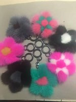 beautiful black men photos - 2017 Beautiful flower shape keychains Pom Pom Fur Balls Piano Black Ball Key ring Bag car Charm bear s paw Keychain