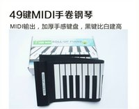 Wholesale 1pcs By DHL Fedex MD49 Black White Flexible Keys Professional MIDI Electronic Piano Keyboard Roll Up Piano for Children