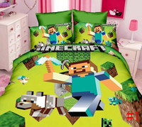 Wholesale New Minecraft Bedding set Quilt bed sheet Pillow Case Single Twin Size children D Bedding Duvet Cover Flat Sheet Minecraft set set ship