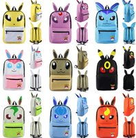 Wholesale 14 Styles Poke Backpacks Pocket Monster Pikachu Eevee Bulbasaur Backpacks Kids Adult Cartoon Shoulder School Travel Bags LJJP386