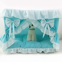 Wholesale New Design Lace Princess Puppy House Fordable Pet Dog Kennels Kitten Cat Beds Dog Nest Pet Products JJ0184