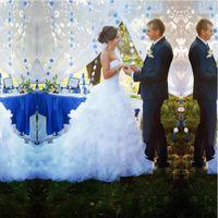 2017 Romantique A-ligne Robes de mariée en cascade Ruffles en cascade de haute qualité organza nuptiale Robe de balayage train sweetheart nouvelles robes de mariée