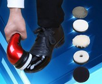 automatic shoe polisher - Free ship household shoe polisher electric mini hand held portable Leather Polishing Equipment device automatic clean machine