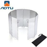 al por mayor aluminum cooker-Venta al por mayor-AOTU 10 platos de aluminio al aire libre plegable portátil cocina estufa Camping Picnic parabrisas Winderscreen Wind Deflector