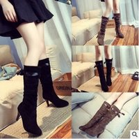 animal print wedge heels - High Quality Women Winter Snow Boots Ladies Wedge Heel Slip on Long Knee Boots Super Warm Women Shoes Size
