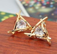 Wholesale Fashion Exquisite Triangle Pierced Crystal Zircon Stud Earrings Jewelry For women Ear Studs Gifts