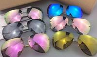 Gafas de sol de piloto Baratos-Óscar Linda gafas de sol hombres mujer diseñador sunglass piloto marco plegable diseño 360 grados plegable memoria haz Gafas de sol linda farrow eyewear