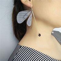 Wholesale 2017New Vintage Jewelry Mori Pearl Butterfly Wings Earrings Ear Line Design Handmade Non Pierced Ear Clip