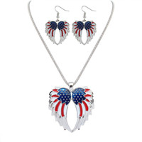 Earrings & Necklace american flag earrings - Fashion Women Jewelry Sets Earring Necklace Flag Pattern High Quantity Gold Silver Colors chain