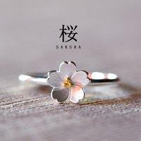 asian flower art - 925 Sterling Silver Ring Flower Sakura handmade sterling silver jewelry Korea Art ring