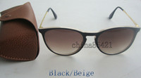 achat en gros de mens lunettes de soleil gradient brun-1PCS Hommes de qualité supérieure Hommes Erika lunettes de soleil Lunettes Black Beige Frame gradient lentille 52mm avec cas brun