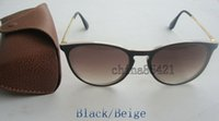 Wholesale 1PCS Top Quality Fashion Mens Womens Erika Sunglasses Eyewear Black Beige Frame Gradient Lens MM With Brown Case