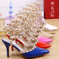 Wholesale New Summer Fashion Lady Sexy Women Pumps Pointed Toe Sandals Slingback Studded T Strap Rivet High Heels Wedding Shoes Woman