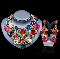austrian palaces - Lan Palace Luxury Gold Plated Rhinestone New Arrival Jewelry Set Austrian Crystal Necklace And earrings For Wedding Six Colors