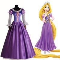 achat en gros de halloween femme costumée-Brand New 2017 adulte Rapunzel Fancy Dress pour les femmes Movie Cosplay Costume Purple Princess Fairytale Tangled Printed Lace Dress
