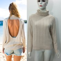 backless sweaters - 2016112119 Women Sweater Beige Cut Out Backless Cable Long Sleeve Knitted High Cowl Turtleneck Loose Streetwear Sexy Autumn Fall