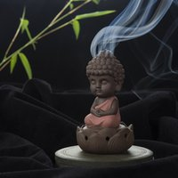 Wholesale Creative Zen Cone Coil Incense Burner Holder Lotus Plate Home Decor living Room Furnace Decoration Ornament Tathagata Buddha