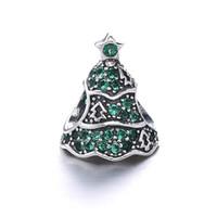 Regalo de Navidad de Europa populares de joyería 925 de plata de ley encantos de árbol de Navidad encaje se adapta a la pulsera de serpiente DIY joyería de marcado