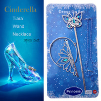Wholesale Kids Cinderella Crown Magic Wand Necklace Girls Rhinestones Crown Butterfly Wand High Heels Necklace Xmas Sets Fashion Accessories D405