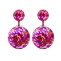 bead earring designs - High Quality New Design Double Sided Earrings for Women Acrylic mm mm Bead Stud Earrings for You