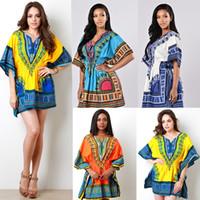 bell linen - New stlye Dashiki fashion retro national ethnic dress Short sleeved dress Ethnic Clothing