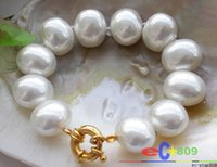 beaded easter eggs - 8 quot mm white egg SOUTH SEA SHELL PEARL bracelet