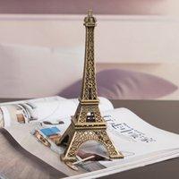 achat en gros de décor de zinc-Cadeaux Créatifs 10cm Métal Art Artisanat Paris Tour Eiffel Modèle Figurine Zinc Alliage Statue Voyage Souvenirs Home Decor