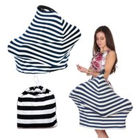 Wholesale in Multi Use Stretchy Knitting Stripe T shirt Nursing Scarf Highchair Cover Breathable Baby Car Seat Cover