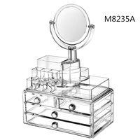 Wholesale New Acrylic Dresser Crystal Transparent Desktop Cosmetics Storage Box Lipstick Organizer With a Mirror
