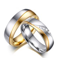 Wholesale Wedding Ring for Women Man CZ Diamond Couples Rings k Gold Plated Stainless Steel Band Promise Engagement Jewelry